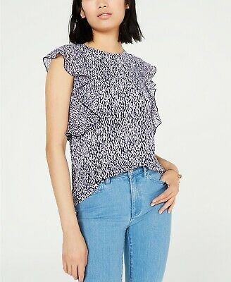 MICHAEL Michael Kors Printed Flutter-Sleeve Top $78 Size M # 5B 1089 NEW