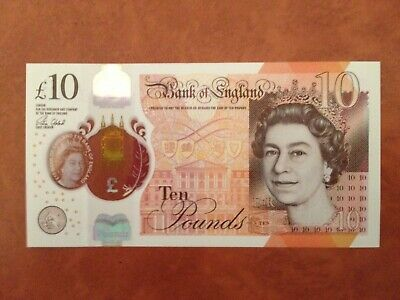 Great Britain 10 Pound Banknote 2017 aUNC-UNC Very Low Serial Number AA01 012268