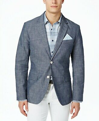$325 Tasso Elba Men's Blue Gray Fit Cotton Sport Chambray Jacket Blazer Size M