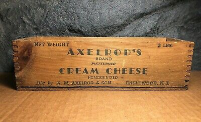 ⭐ Vintage Axelrod's | Cream Cheese Box | 3 lb | Englewood NJ | Rustic | Wooden