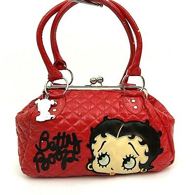 Betty Boop Large Satchel Purse Quilted Pleather With Pockets Vintage 2007