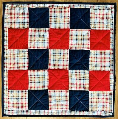 Baby Quilt Handmade Red Blue Plaid Patchwork Boys Crib Blanket New