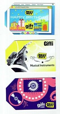 Best Buy Gift Cards - LOT of 3 Older - Electric Guitar, Happy Birthday- No Value