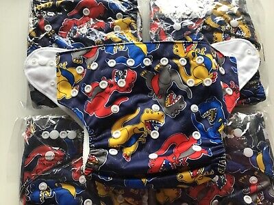 TWO   7Organic One Size Cloth Pocket Diapers With Inserts Dinosaurs Print New 2