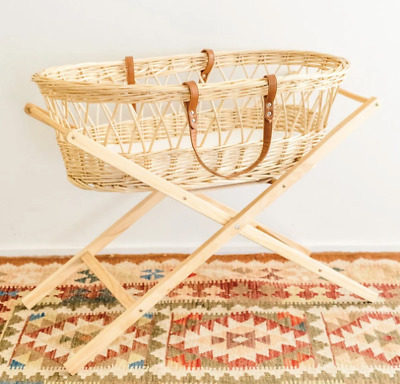 Baby Moses Basket with Wooden Stand - Natural Willow Wicker