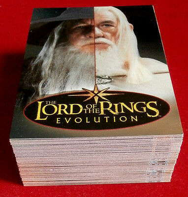 "LORD OF THE RINGS - ""Evolution"" - COMPLETE FOIL BASE SET (72 cards) Topps 2006"