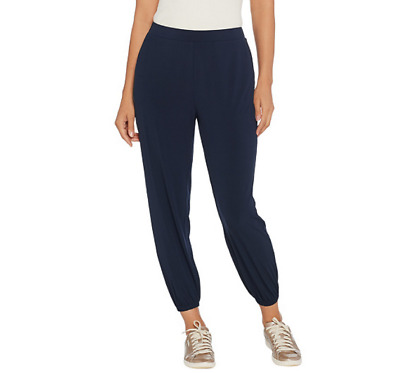 Lisa Rinna Collection Size XX-Small Knit Cropped Jogger Pants Dark Sapphire XXS