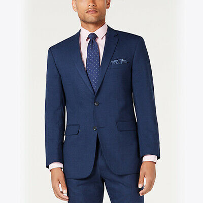 Size 40S Perry Ellis Mens Slim-Fit Stretch Medium Blue Tonal Plaid Suit Jacket*