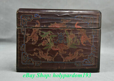 """9"""" Mark Old China lacquerware Painted Dynasty Palace Crane Pine Jewelry Box"""
