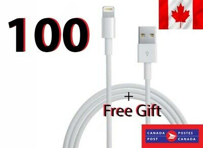100 x Charging Charger Cable Cord Sync Data Apple iPhone 8,7,6,X IPad+Free Gift