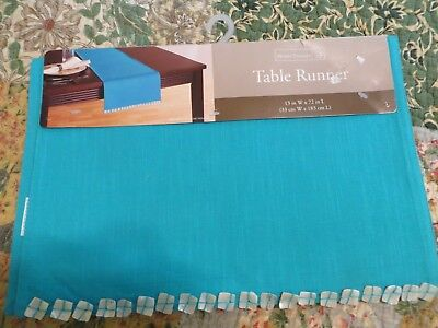 Teal Water Linen Table Runner with Shell Piece Borders