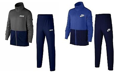 Nike Boys Junior Kids Sportswear Full Tracksuit Grey Blue Track Pants & Jacket