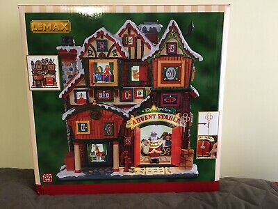 New Lemax Dasher's Advent Stable Street Lighted Christmas Façade