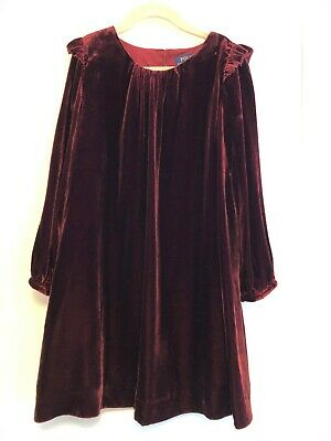 Polo Ralph Lauren Party Dress Velour Size 6 years Dark Red Maroon Long Sleeve