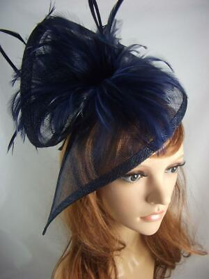 Navy Blue Sinamay & Feathers Twist Fascinator - Occasion Wedding Races