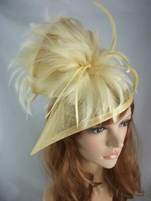 Gold Sinamay & Feathers Twist Fascinator - Occasion Wedding Races