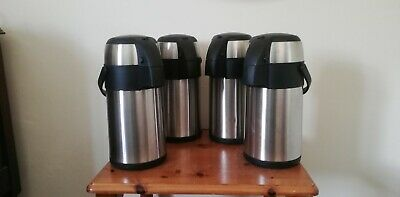 4 x S/S HOT/COLD AIRPOT THERMOS FLASK TEA COFFEE DRINK VACUUM PUMP ACTION