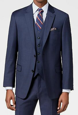 $469 Tommy Hilfiger 42R Men Blue 2 Button Fit Wool Blazer Suit Jacket Sport Coat