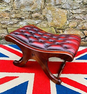 Stunning Oxblood Red leather Cross frame Chesterfield Saddle Foot stool