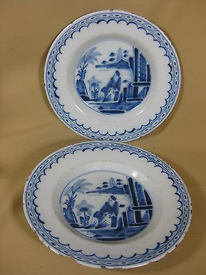 Pair 18th C. Dutch Delft Plates With Chinese Decoration