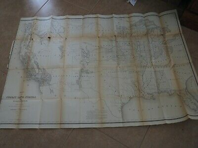 """Antique Map """"Map of the Public Land States and Territories constructed from"""""""