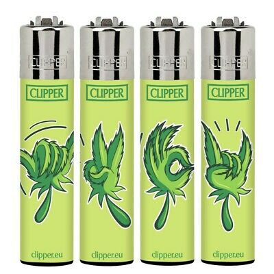 4 X CLIPPER Lighter  SIGNS WEED  DESIGN Refillable Original
