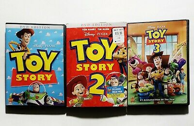 Toy Story 1 + 2 + 3 Complete Trilogy DVD Collection Lot (3-Disc Set) w/ Inserts