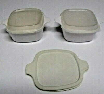 Set of 2 Corning Ware White small Casserole Dishes P-43-B with plastic lids