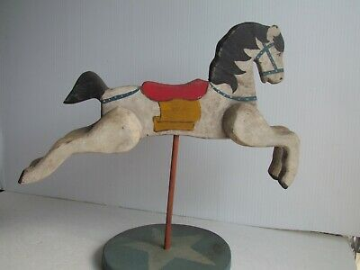 Vintage Folk Art Hand Carved Carnival Horse Long Island Ny Carver