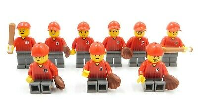 9 Lego Minifigures Baseball Team Bat In Gloves Included City Town