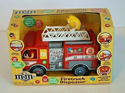 M&M's Red Ladder Fire Truck Limited Edition Collectible Dispenser With CANDY NIB