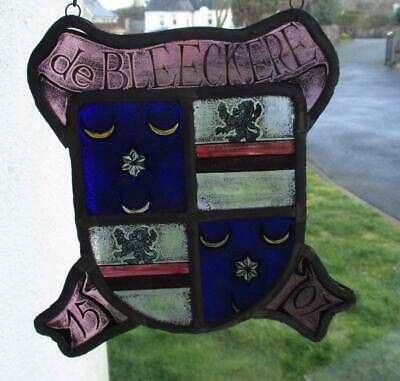 Unusual Early Stained Glass Panel Armorial Crest - Dutch - De Bleeckere