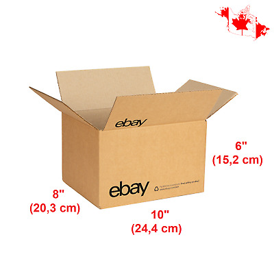 "25 ebay-Branded Shipping Boxes With Black Color Logo 10"" x 8"" x 6"" Corrugated"