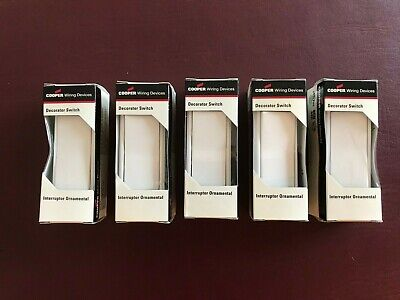 Lot Of 5 Cooper Wiring 7501W-Box Single Pole Switch With Ground Decorator ^