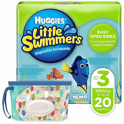 Huggies Little Swimmers Disposable Swim Diaper 20 Ct Sz 3 Small w/ Wipes Bundle