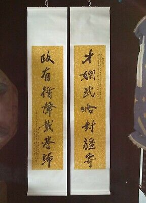 2 large Oriental Calligraphy Antique Scrolls Chinese Painting Military Politics