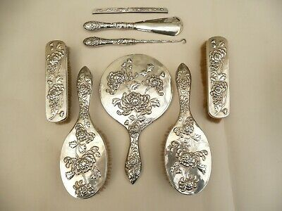 Fab Rare Signed Luen Wo Antique Chinese Export Solid Silver 8 Piece Vanity Set