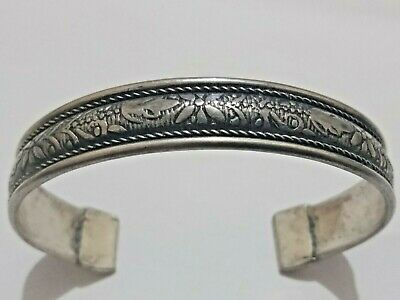 Ancient Viking Highly Detailed Silvered Bracelet Great save RARE