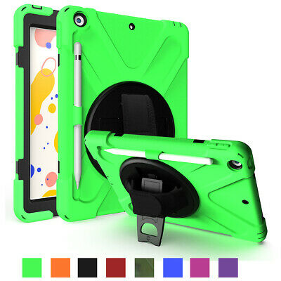 For Apple iPad 7th Generation 10.2'' Tablet Silicone Stand Case with Hand Starp