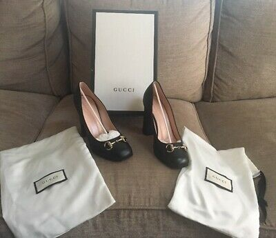 Genuine Gucci Black Leather Heels Pumps Size 37 1/2 Made in Italy Box & Shoe Bag