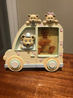 Vintage 1987 Kids/Baby Pastel Car & Bears Table Top Picture Frame