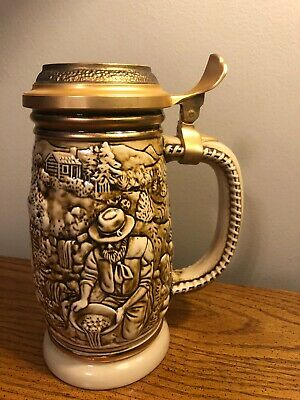 Vintage Avon The Gold Rush Lidded Stein Made In Brazil 1987 hd1216