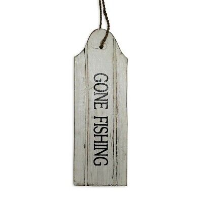 """22cm Door Hanging """"GONE FOR COFFEE"""" Sign Plaque White Wash with Bla Wooden"""