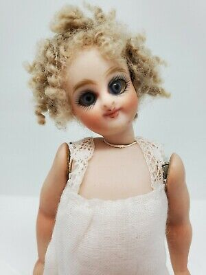 """Artist RARE French All Bisque Mignonette Doll Barefoot by Margaret Wolfe 5 1/2"""""""