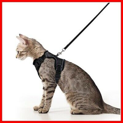 Cat Harness and Leash Set - Adjustable Soft Vest Harnesses XS or Small, Black