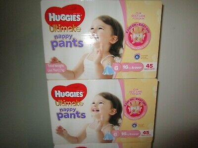 Huggies Ultimate Nappy Pants Nappies Girls Size 6 Junior 16kg+     45 Count