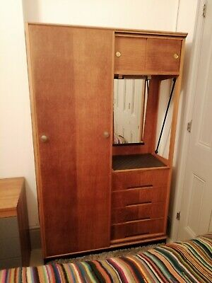 Mid century Atomic Wardrobe With Drawers Wood