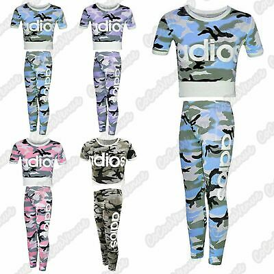 New Girls Kids Adios Camouflage Printed Tracksuit Crop Top Leggings Set 5-13 Yrs