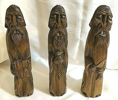 Hand Carved Wood Music Men Figure w/ Instruments Band Wooden Figurine Set of 3