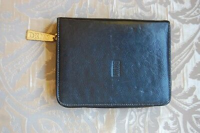 Vintage Dkny Donna Karen Black Leather Planner Address Book Cover